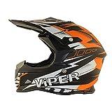 ViPER RSX121 SUPERMOTOCROSS ECE APROBADO MOTOCICLETA MINI PIT TRAIL DIRT BICI CASCO NARANJA (S (55-56 CM))