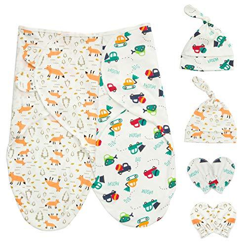 HBselect 2 Set Pucktuch Baby Pucksack Mutze Handschuhe Set 100% Baumwolle für Baby Neugeborene für bis 6 Monate (Wagen&Fuchs)