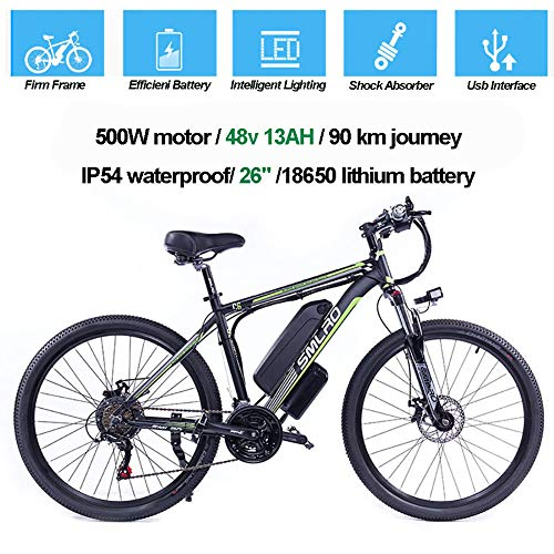 Hyuhome Las Bicicletas eléctricas para Adultos, IP54 Impermeable 500/1000W Ebike de aleación Aluminio Bicicletas 48V 13Ah Iones Litio Bicicletas montaña/batería/conmuta Ebike,Black Green,1000W