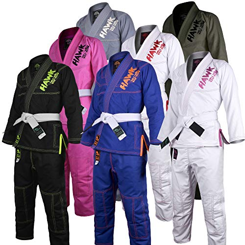 Brazilian Jiu Jitsu, Kids Jiu Jitsu Gi Children BJJ Gi Grappling Kimonos Lightweight with Free White Belt (K1, Blue)