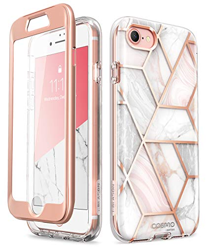 """i-Blason Hülle für iPhone SE (4,7\"""") 2020 Handyhülle iPhone 8 Glitzer iPhone 7 Schutzhülle [Cosmo] 360 Grad Case mit Integriertem Displayschutz Glänzend Full Cover, Marmor"""