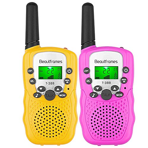 Kids Walkie Talkies Ninos Under 14 years old Girl and Boy Gifts Toys 22 Channels 2 Pack(Pink&Yellow) Children's Walkie Talkie Set Outdoor Adventures Hiking Camping Gear Games for Girls and Boys