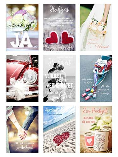 Edition Seidel Set 9 hochwertige Designer Premium Hochzeitskarten mit Briefumschlägen. Glückwunschkarte zur Hochzeit. Geschenk Geld Geldgeschenk (Doppelkarten mit Briefumschlag) (Set 3)