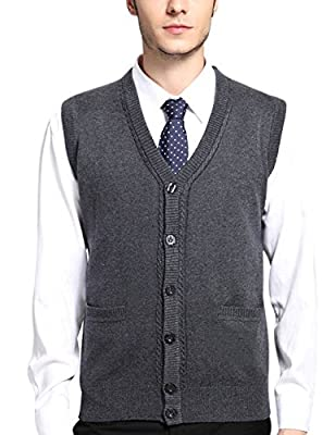 Yeokou Mens Casual Slim Sleeveless V Neck Button Front Wool Knitted Sweater Vest,Dark Grey,Large by