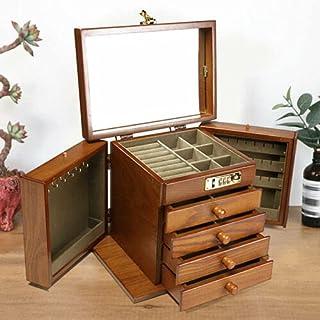 Boîte à bijoux rétro à 5 couches en bois pour bagues et colliers - pour maman/amis