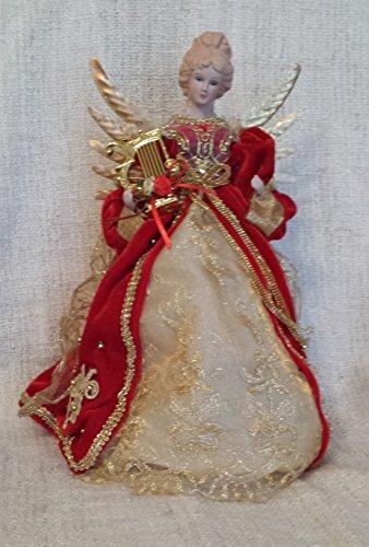Puntale per albero di Natale a forma di angelo, angelo con arparosso e oro, ali di metallo dorato