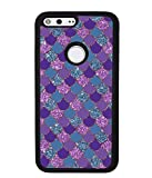 Purple Teal Gold Mermaid Scales Skin Google Pixel Black Rubber Phone Case Compatible With Google Pixel 5, Google Pixel 4a, 4a 5G, 4 XL Google Pixel 3, 3a, Google Pixel 3 XL, 3a XL, Google Pixel 2, 2XL -  Patyrn