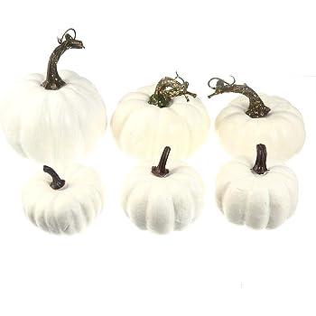 Volwco 6 Stück Weiße Künstliche Kürbisse Sortierte Größen Schaum Kürbis Dekor und DIY Oberflächenerstellung für Hochzeit Halloween Weihnachten Festival Party und Haus Dekoration