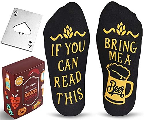 Cavertin Beer Lover Set with Men's Novelty Beer Socks and Bottle Opener Black