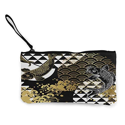 Koi Fish Wave Water Circle Japanese ChineseCanvas - Monedero de monedero de lona, bolsa de cosméticos con cremallera, bolsa de teléfono móvil con asa
