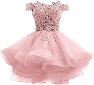 Women's Off The Shoulder Organza Short Prom Homecoming Dresses