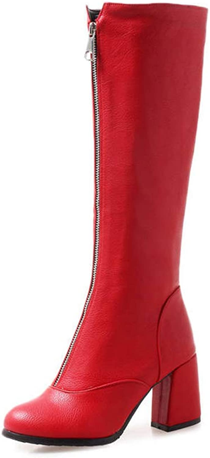 Hoxekle Knee High Boot for Women Square High Heel Black White Red Consise Lace Top Round Toe Fashion Long Boots