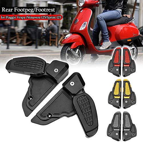 UltraSupplier Motorcycle Rearset Rear Set Foot Rests Pegs Pedal Footrest Adapter Prima for Vespa Primavera Sprint 125 150 2017 2018 2019 2020 2021 Accessories 17-21(Black)