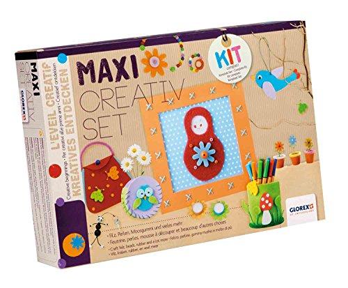 GLOREX 6 1214 071 - Maxi Creativ Set, umfangreiches Bastelset mit Filz, Moosgummi, Biegeplüsch, Perlen, Kordeln, Schnittmuster und vielem mehr, ideal für das Basteln mit Kindern