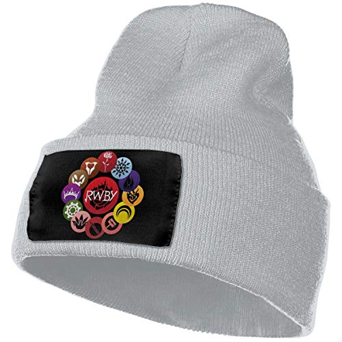 Eoinch Mens & Womens RWBY Crescent Sky Ruby Rose Logo Skull Beanie Hats Winter Knitted Caps Soft Warm Ski Hat Gray