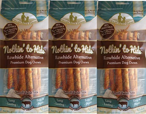 Fieldcrest Farms 30 Pack of Nothin to Hide Beef Stix Dog Chew, Small, Digestible Rawhide Alternative Treats