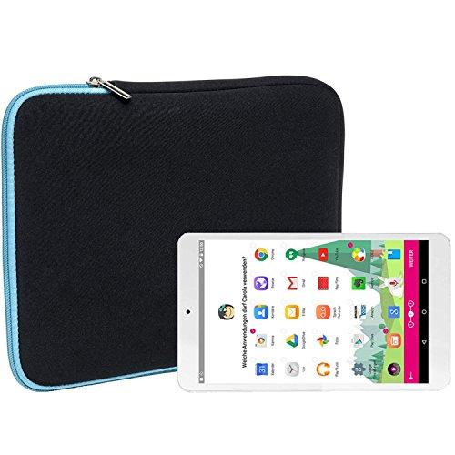 Slabo Tablet Tasche Schutzhülle für Telekom Puls Hülle Etui Hülle Phablet aus Neopren – TÜRKIS/SCHWARZ