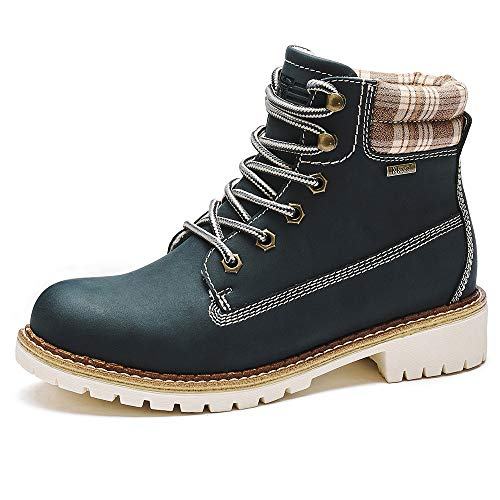 Kkyc Womens Boots Waterproof Hiking Boots Anti-Slip Ankle Boots Lace-up Casual Boots 10 M (Blue)