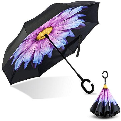 Omgekeerde flodderende paraplu, dubbellaagse winddichte UV-bescherming Omgekeerde opvouwbare regenparaplu voor mannen en vrouwen