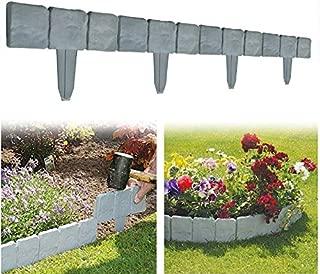 Yosooo Faux Stone Effect Landscaping Garden Edging, 10 PCS Spring Yard Lawn Garden Plastic Faux Stone Patio Border Edging Fence