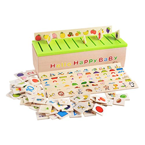F Fityle Montessori Sorting Toys Toddlers Kids Early Education 1 Boîte de Tri, 8 Bandes de Tri, 80 Cartes de Tri