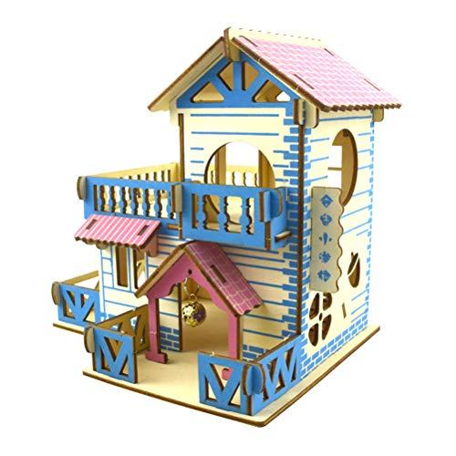 Shanado 木製 おもちゃ ハムスター ハウス 家小屋2階建て DIY ドールハウス 遊具?キット ケージ 運動不足解消3D立体別荘 組立式ドールハウス ベッド 豪華 遊び巣 ペット 遊び場(タイプ2)