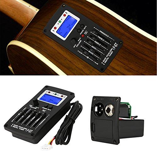F-5T 5 Band Equalizer Tonabnehmer, Digital Tuner Tonabnehmer Akustische E-Gitarre Vorverstärker Tuner mit LCD-Tuner und Lautstärkeregler für elektrische akustische Klassische Gitarre