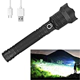 Rechargeable LED Flashlights High Lumens, 90000 Lumens Super Bright Zoomable Waterproof Flashlight with Batteries Included & 3 Modes, Powerful Handheld Flashlight for Camping Emergencies