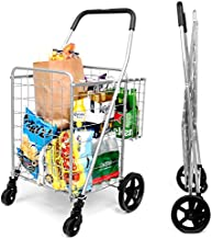 SUPENICE Grocery Utility Shopping Cart - Deluxe Folding Cart with Double Basket and 360° Rolling Swivel Wheels 66 lbs Utility Cart with Wide Cushion Handle Bar for Grocery Laundry Book Luggage Travel