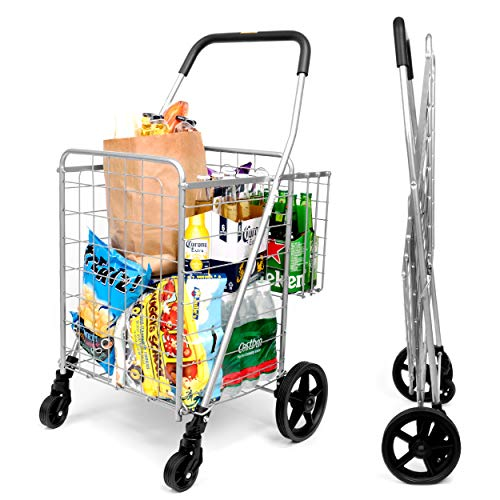 SUPENICE Grocery Utility Shopping Cart - Deluxe Folding Cart with Double Basket and 360° Rolling...
