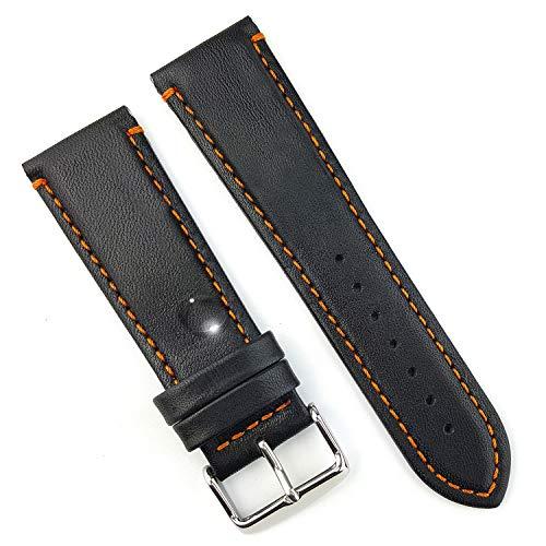 Correas de reloj de cuero auténtico impermeables, color negro