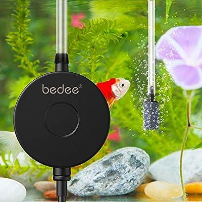 bedee Aquarium Air Pump, High Energy Saving Oxygen Mini Fish Tank Air Pump, Ultra Silent <35dB 1W 0.5L/min Air Pump with Check Valve, Air Stone, Suction Cup for Fish Tanks up to 50 Litre