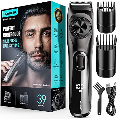 Adjustable Beard Trimmer for Men,DynaBliss Professional Mens Stubble and Beard Hair Trimmer Cordless and Rechargeable with 2 Combs and LED Display