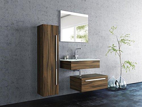 Design Badmöbel-Set Leone - 90 cm breit - Wallnuss - Badezimmermöbel Waschtisch mit zusätzlichen Unterschrank Spiegel mit Beleuchtung und Hochschrank Sieper Jokey