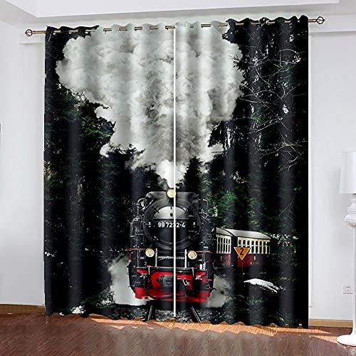 WAFJJ Art CortinaNegro y Tren Cortina y Cenefa, Tapiz de Dormitorio, Cortina India para balcón, decoración de habitación Tamaño: 132x160cm(An x Al)