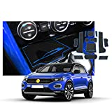 SXCY Alfombrillas de goma para T-ROC T ROC para consola central antideslizantes, para el reposabrazos del coche, soporte para bebidas, alfombrilla de almacenamiento accesorios de interior Azul