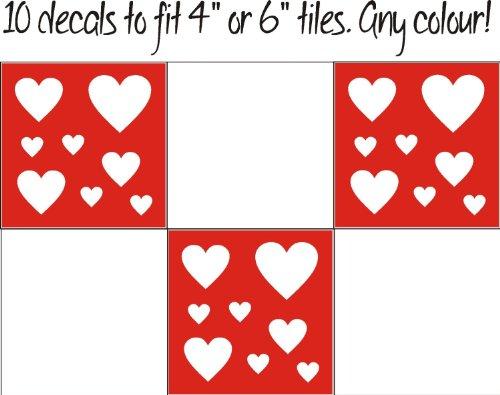 FSSS Ltd Lot de 10 autocollants carrés en forme de cœur pour carrelage de cuisine, salle de bain, style shabby chic (bleu sarcelle, 80 mm)