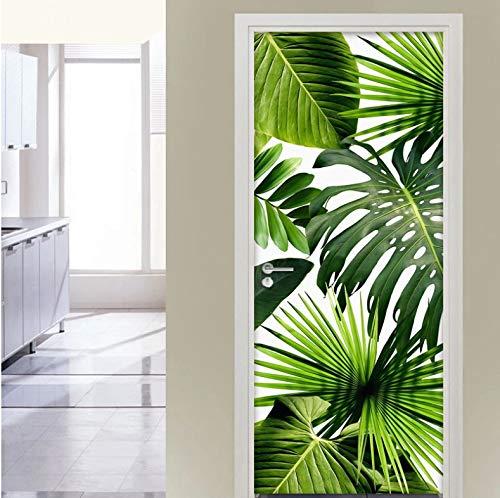 Mural Para Puerta Pintura De Hoja Verde Puerta De Comedor Sala De Estar Dormitorio Extraíble Autoadhesivo Papel Pintado Puertas 90 X 200 cm