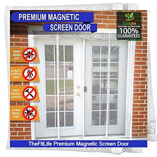 TheFitLife Cortina Mosquitera magnética para Puertas dobles - Malla con cierre de gancho y bucle e imanes potentes que cierran instantáneamente puertas grandes de patios (157x206cm Blanco)