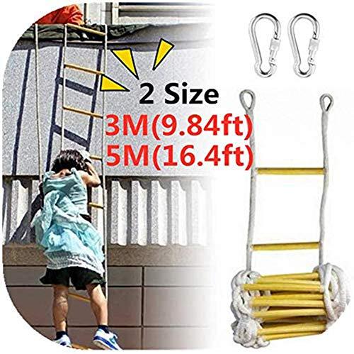 DGSD Notfall Feuerleiter mit 10 m Seil - einfach zu implementieren und zu verwenden - kompakt und leicht zu verstauen - dem Fluchtleiter wiederverwendbar, 3M: 2100g,3m 2100g