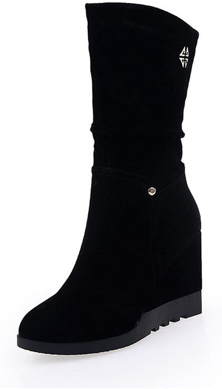 AllhqFashion Women's High Heels Round Closed Toe Frosted Mid-calf Boots