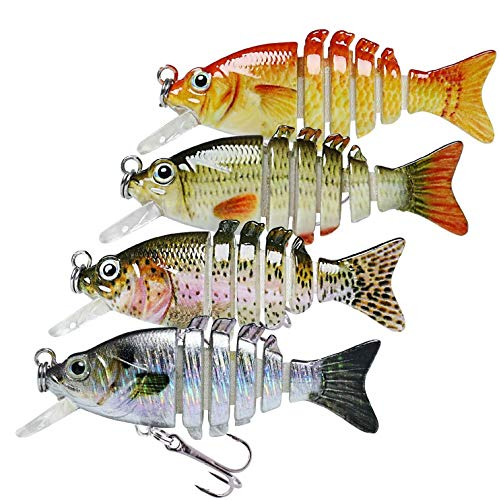 "TRUSCEND Fishing Lures for Trout Bass 2"" Mini Sunfish Tilapia Lure Multi Jointed Swimbaits Slow Sinking Hard Lure Fishing Tackle Kits Lifelike"