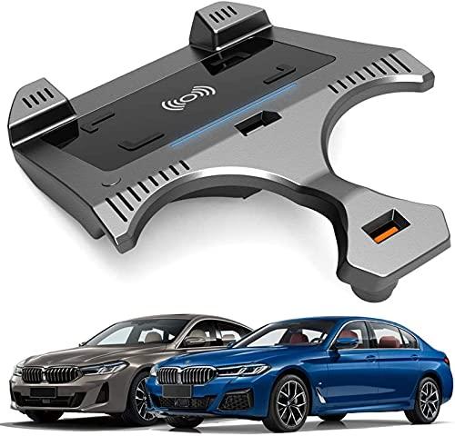 Cargador Coche Inalámbrico para BMW 5 Series 2018 2019 2020 2021 Panel de Accesorios de Consola Central,Almohadilla de Carga Rápida del Cargador del Teléfono de 15W Qi con QC3.0 USB para BMW 5 Series