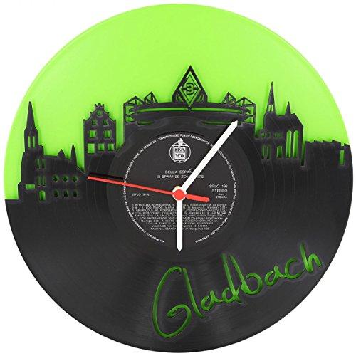 GRAVURZEILE Gladbach Fan-Uhr Wanduhr aus Vinyl Schallplattenuhr Upcycling Design-Uhr Vinyl-Uhr Wand-Deko Vintage-Uhr Wand-Dekoration Retro-Uhr Made in Germany