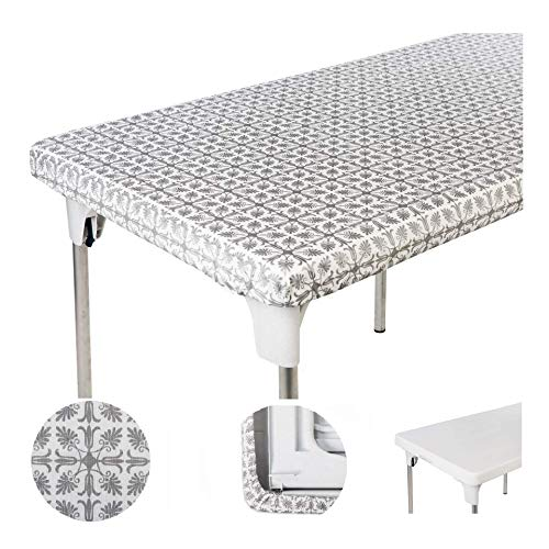 TopTableCloth Tablecloth 30 x 20 inch for Folding Table Silver Patterned Kid#039s Table Cloth Fitted Small Tablecloths Rectangular Plastic Vinyl Picnic Elastic Corner Outdoor Home Indoor Personal Dinner