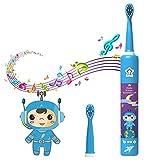 Iadong Elektrische Zahnbürste für Kinder, Wiederaufladbare Musik Schallzahnbürste mit 2 Bürstenköpfe 3 Modi 2 Minuten Timer IPX7 WasserdichtEine und USB Kabel für 3-12 Jahre alte Kinder