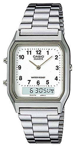 Casio Collection AQ-230A-7BMQYES, Reloj Analógico-Digital para Hombre, Blanco