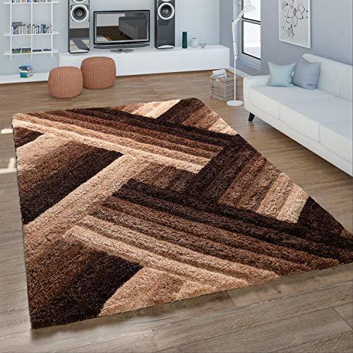 Alfombra De Salón Pelo Largo Shaggy Contorneado Motivo Zigzag Nata Y castaño, tamaño:80x150 cm