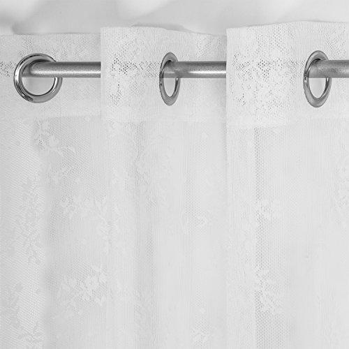 2x Visillos de Encajes Translúcidos en Tejido Bordado Jacquard Elegan