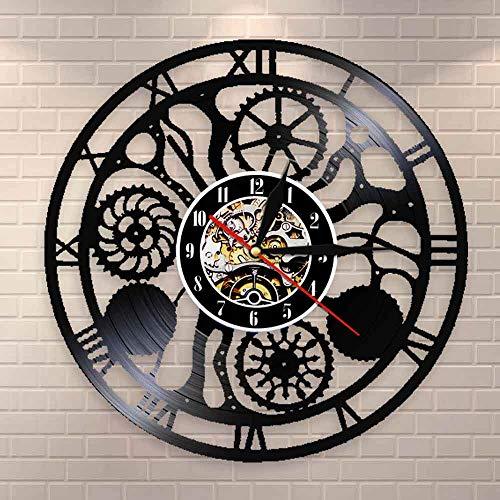 Regalos para Hombres Engranajes y Engranajes Reloj de Pared Ruedas dentadas Ciencia Arte Inteligencia Artificial Steampunk Arte de neurociencia Disco de Vinilo Reloj de Pared